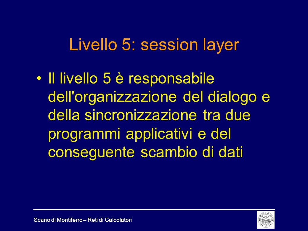 Livello 5: session layer