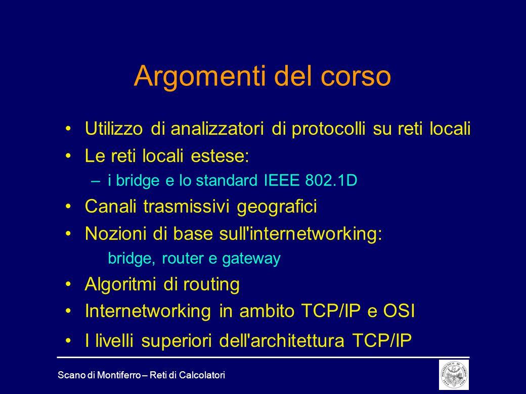 Argomenti del corso Utilizzo di analizzatori di protocolli su reti locali. Le reti locali estese: i bridge e lo standard IEEE 802.1D.