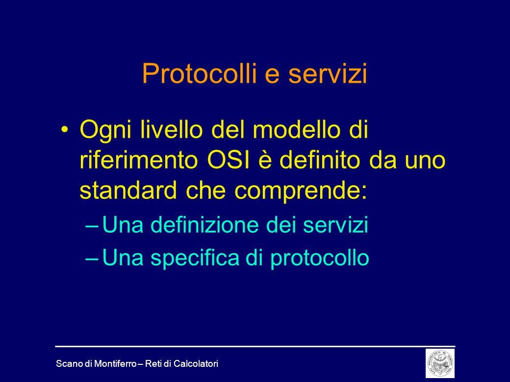 Protocolli e servizi Ogni livello del modello di riferimento OSI è definito da uno standard che comprende:
