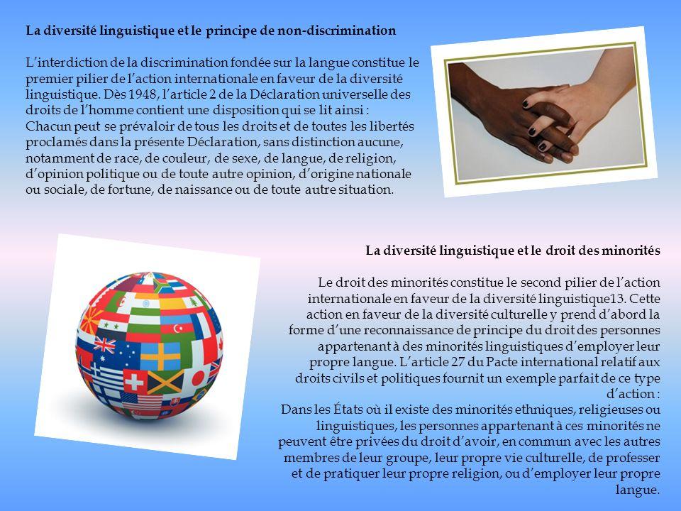 La diversité linguistique et le principe de non-discrimination