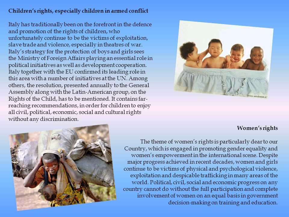 Children's rights, especially children in armed conflict