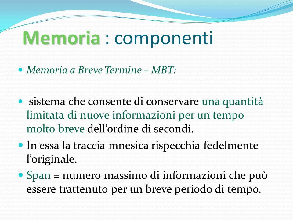 Memoria : componenti Memoria a Breve Termine – MBT: