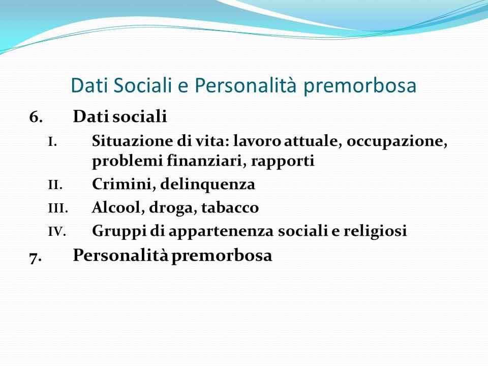 Dati Sociali e Personalità premorbosa
