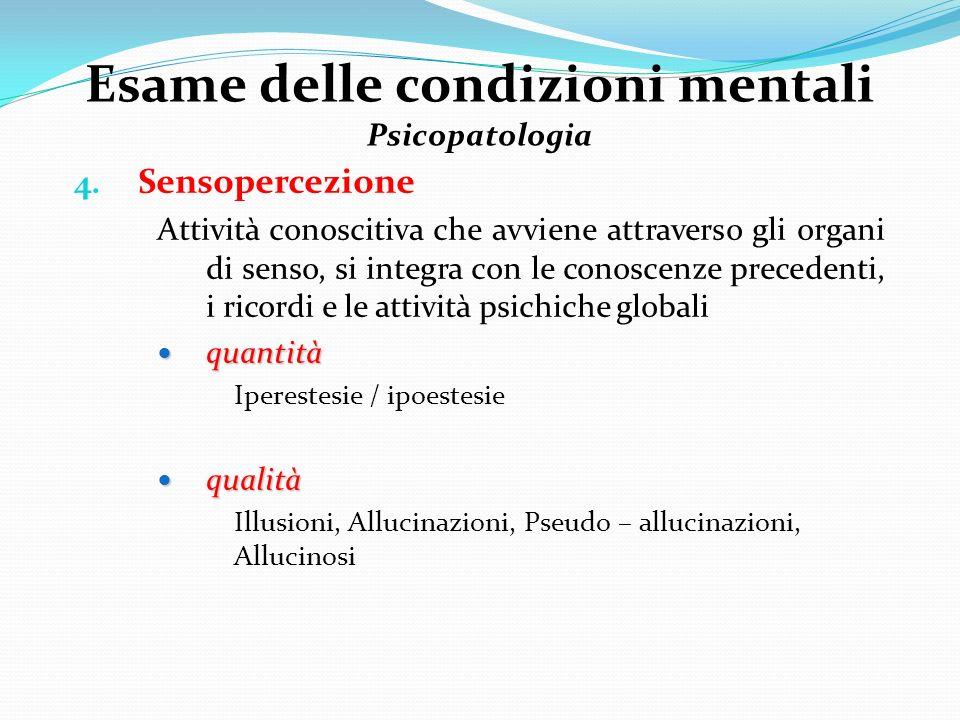 Esame delle condizioni mentali Psicopatologia