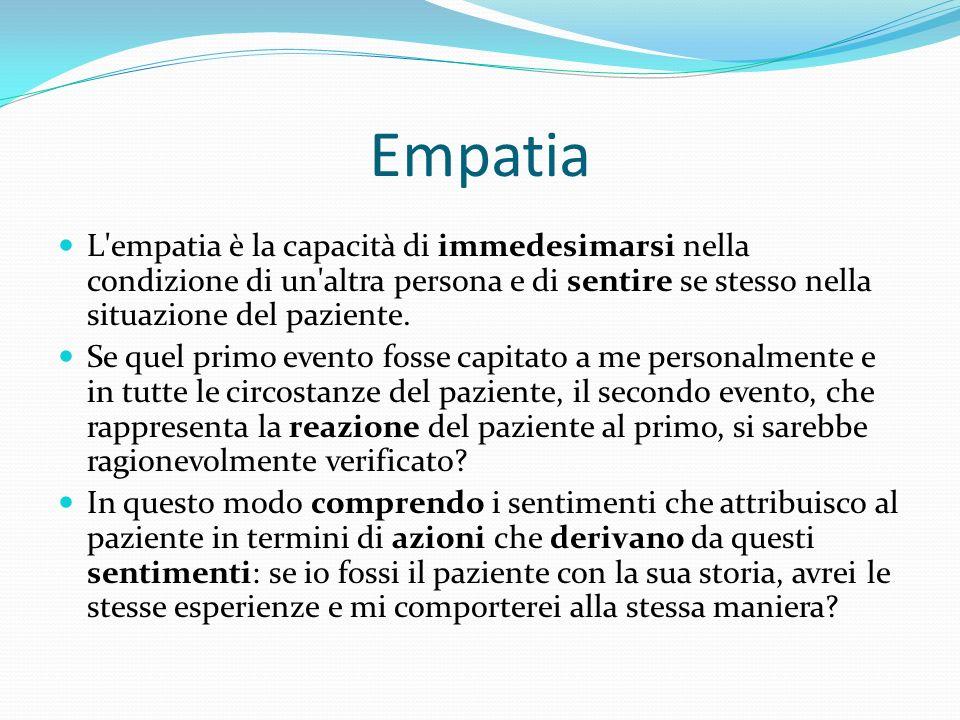 Empatia L empatia è la capacità di immedesimarsi nella condizione di un altra persona e di sentire se stesso nella situazione del paziente.