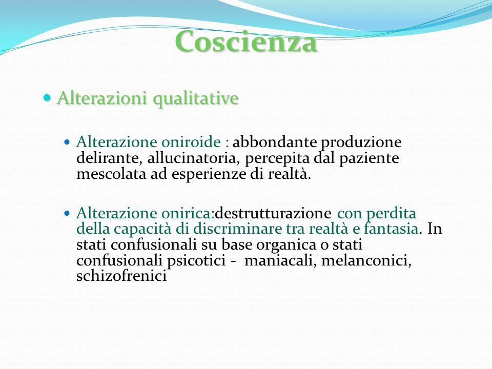 Coscienza Alterazioni qualitative