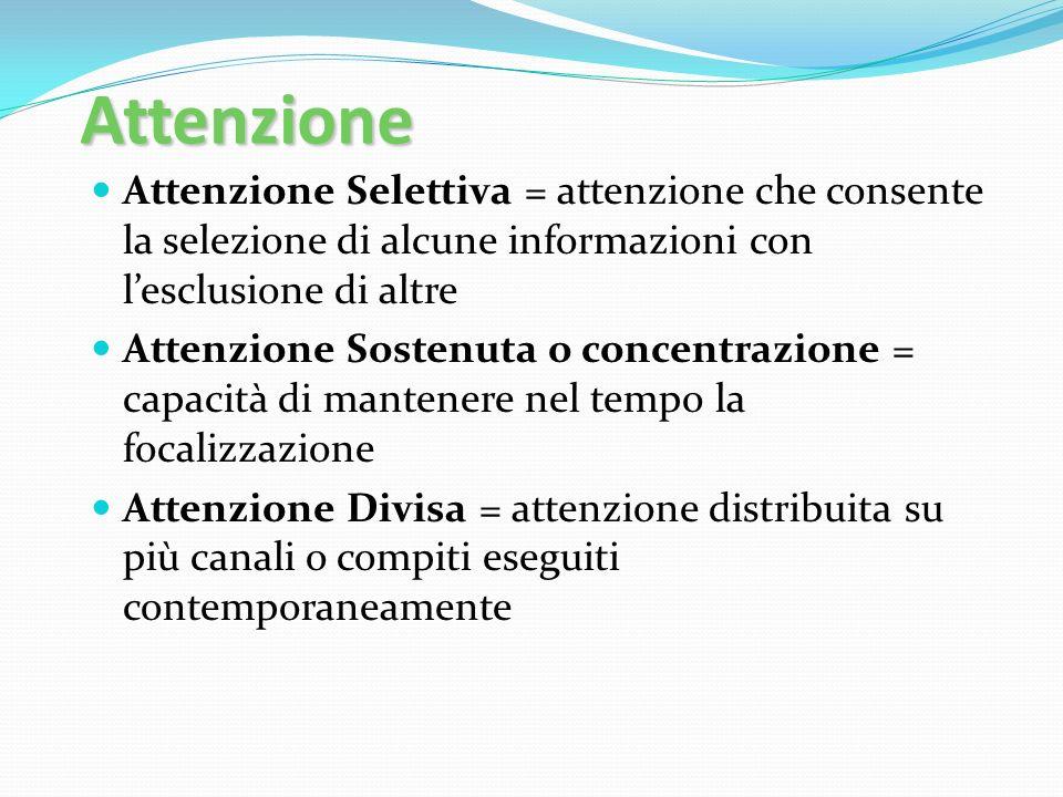 Attenzione Attenzione Selettiva = attenzione che consente la selezione di alcune informazioni con l'esclusione di altre.