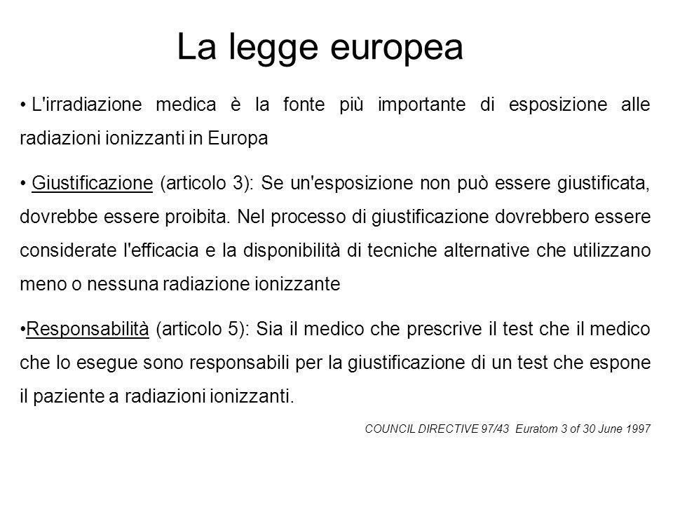La legge europea L irradiazione medica è la fonte più importante di esposizione alle radiazioni ionizzanti in Europa.