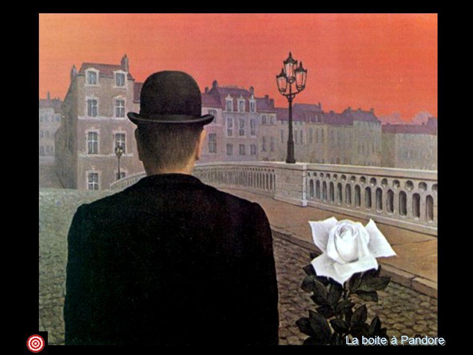 La boite à Pandore 1951 olio su tela; 45 x 55 Yale, Yale University Art GalleryMagritte, come è noto, attribuiva molta importanza al titolo delle opere, non, però, in una funzione interpretativa, bensì poetica e coerente con le emozioni più o meno vive che proviamo guardando un dipinto . E' per questo che Il vaso di Pandora ci sorprende e ci incanta attraverso l'enigmaticità della rosa bianca accostata, in un rapporto immaginario, con il classico uomo vestito di nero, visto, questa volta, di spalle a osservare, forse, la città sotto un cielo rosso. La pittura di Magritte, tecnicamente tradizionale, non fu mai tesa alla ricerca estetica, ma esclusivamente al servizio dell'idea, e della comunicazione più immediata di essa. Non a caso le sue immagini tipiche, come quest'omino con la bombetta, ebbero un'enorme importanza mediatica per la pubblicità e la cartellonistica.