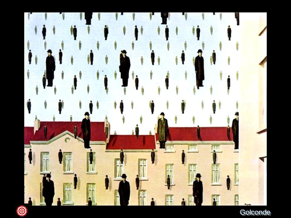 Golconde 1953 olio su tela ; 80,7 x 100,6 Houston, The Menil CollectionIl tipico personaggio magrittiano, l'omino con la bombetta, realizzato con la consueta ottica realistica, quasi accademica in quanto a freddezza e minuziosità, viene, in quest'opera, moltiplicato all'infinito e fatto fluttuare in un cielo azzurro, in un paesaggio di case e di tetti tipicamente belga. Non sappiamo se questi curiosi personaggi in miniatura stiano fioccando dall'alto come neve, o piuttosto volando in uno slancio leggiadro sopra la città. L'ambiguità surreale è poi sottolineata, tra l'altro, dall'ombra che gli omini proiettano non solo sulle facciate delle case ma anche sul piano trasparente del cielo, dove mai un'ombra di una persona vera potrebbe concretizzarsi, in assenza di un piano solido. Dunque, il senso di spaesamento qui corre su un doppio binario: da un lato l'impossibilità dello svolgersi del racconto (uomini che volano), dall'altro il superamento dei limiti naturali e fisici creato dall'illusionismo dell'immagine, che non è e non sarà mai la realtà vera, così come un'ombra non potrà mai proiettarsi in un cielo.