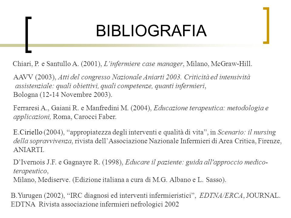 BIBLIOGRAFIA Chiari, P. e Santullo A. (2001), L'infermiere case manager, Milano, McGraw-Hill.