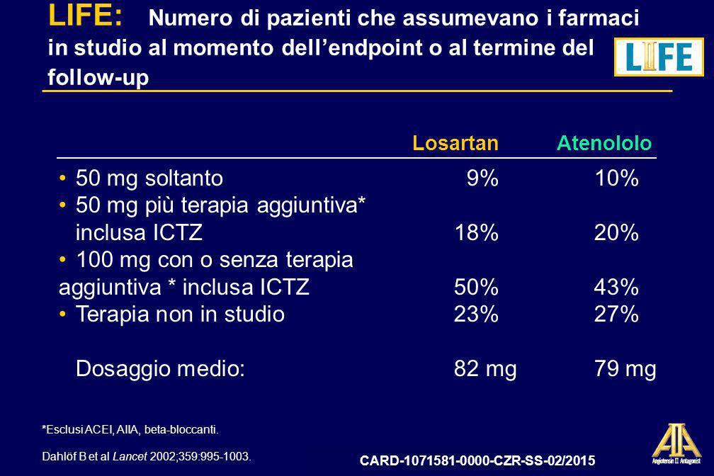 LIFE: Numero di pazienti che assumevano i farmaci in studio al momento dell'endpoint o al termine del follow-up