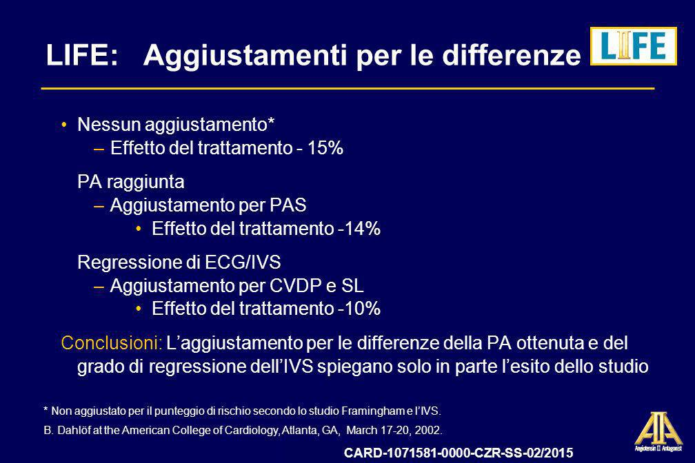 LIFE: Aggiustamenti per le differenze