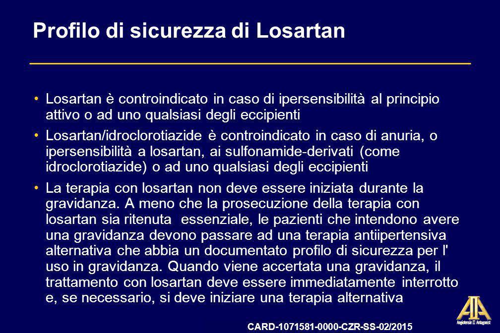 Profilo di sicurezza di Losartan