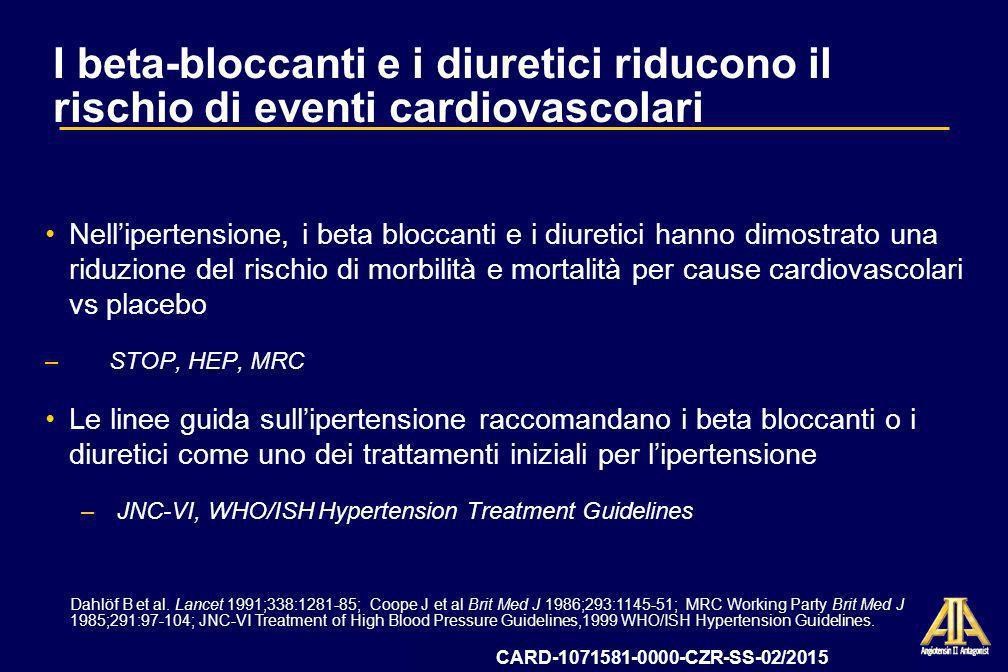 I beta-bloccanti e i diuretici riducono il rischio di eventi cardiovascolari