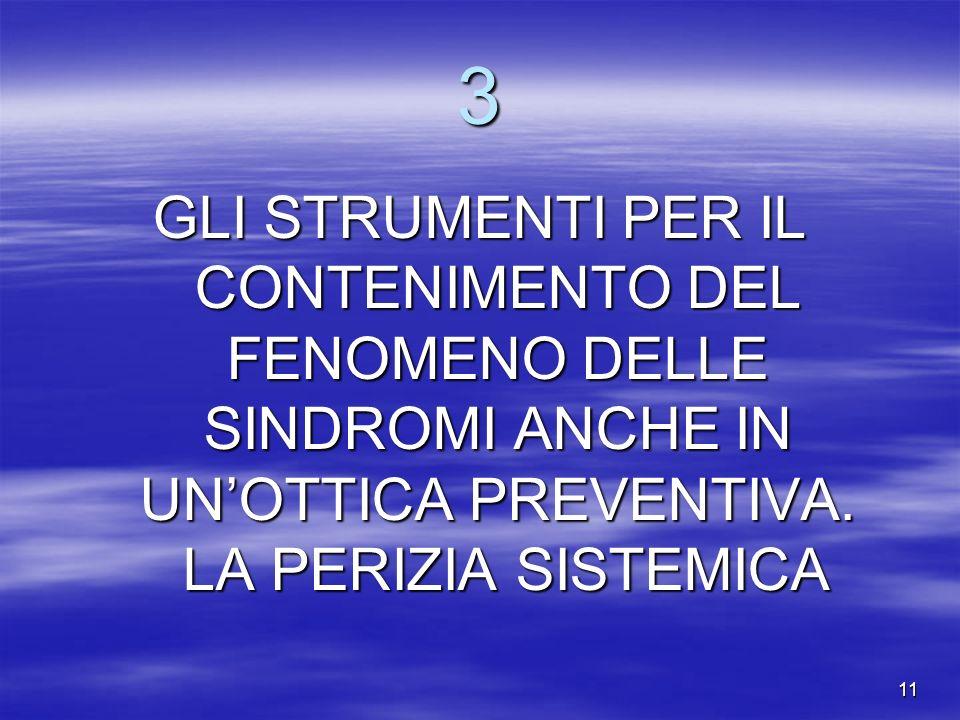 3 GLI STRUMENTI PER IL CONTENIMENTO DEL FENOMENO DELLE SINDROMI ANCHE IN UN'OTTICA PREVENTIVA.