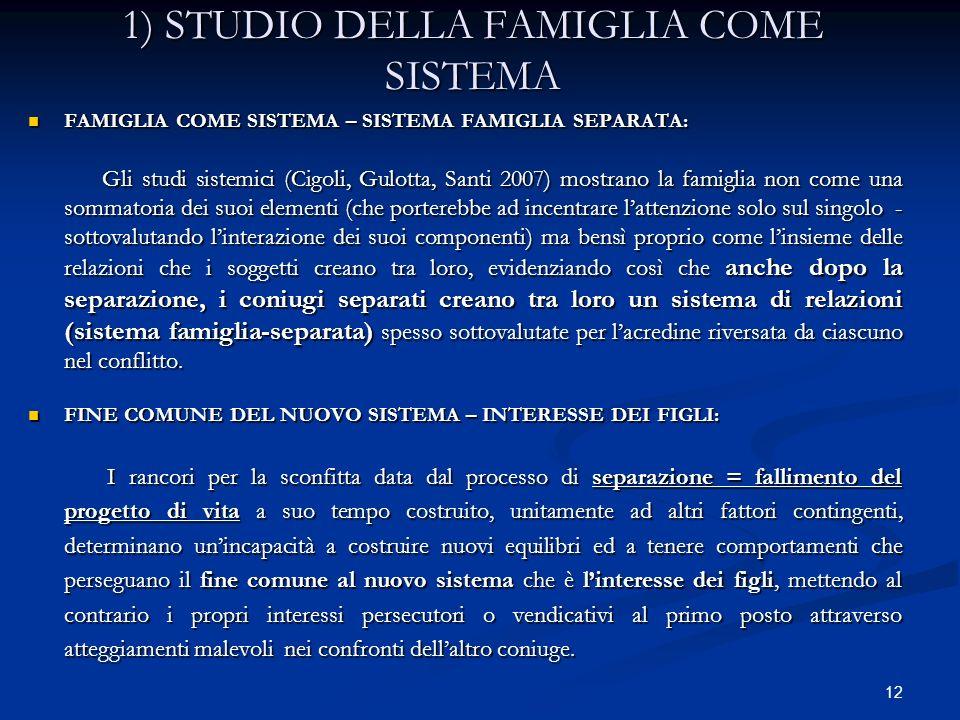 1) STUDIO DELLA FAMIGLIA COME SISTEMA