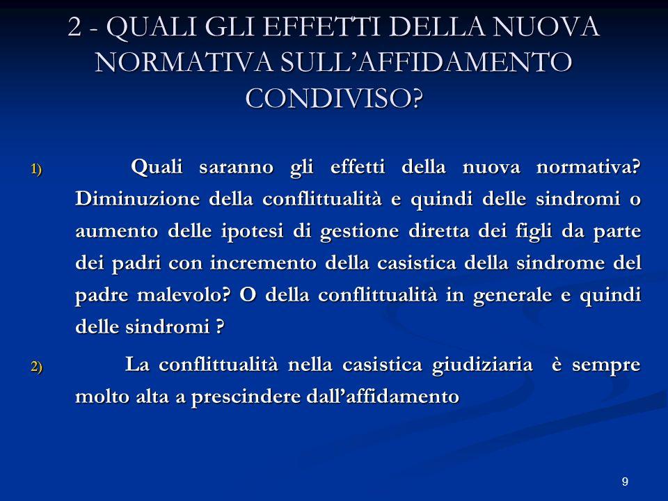 2 - QUALI GLI EFFETTI DELLA NUOVA NORMATIVA SULL'AFFIDAMENTO CONDIVISO