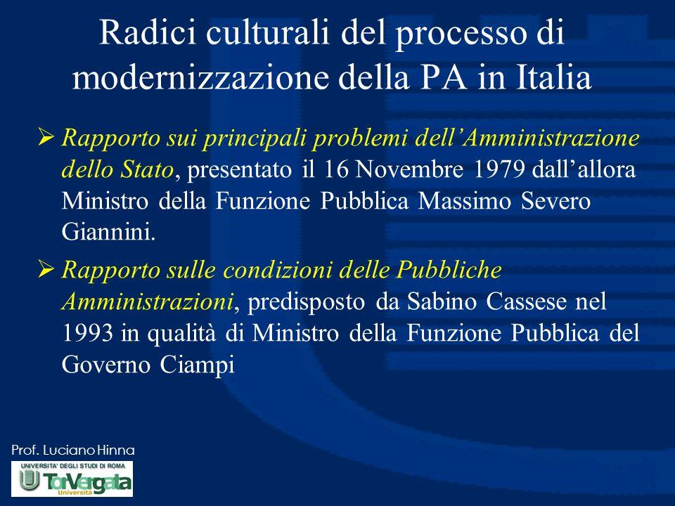Radici culturali del processo di modernizzazione della PA in Italia