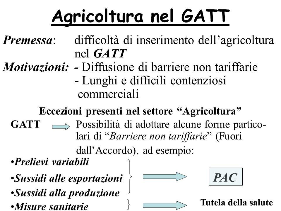 Eccezioni presenti nel settore Agricoltura