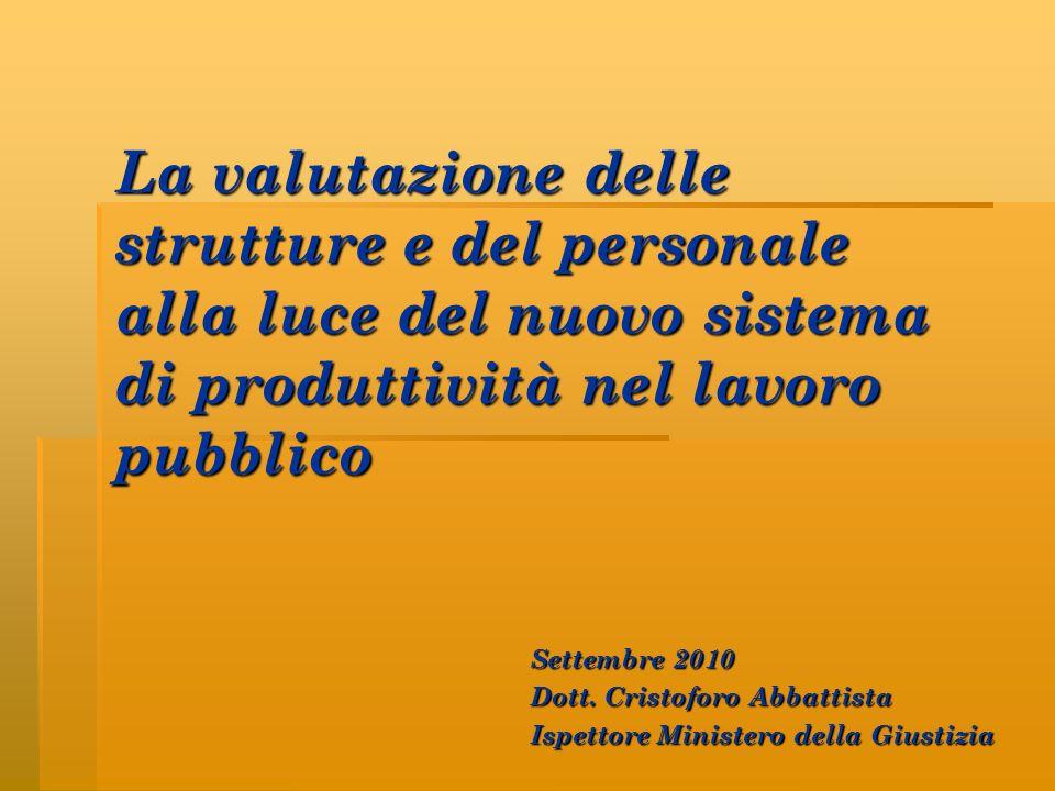 La valutazione delle strutture e del personale alla luce del nuovo sistema di produttività nel lavoro pubblico