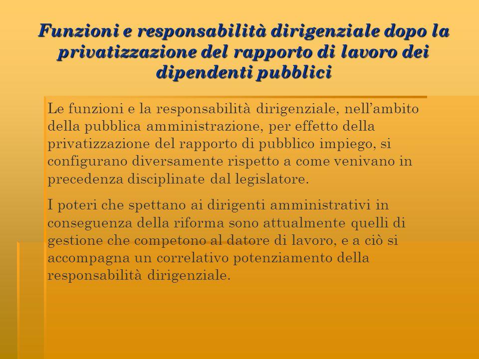Funzioni e responsabilità dirigenziale dopo la privatizzazione del rapporto di lavoro dei dipendenti pubblici