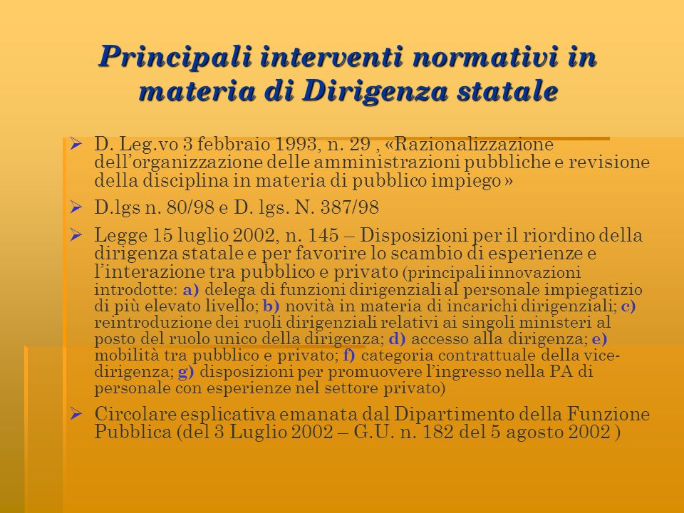 Principali interventi normativi in materia di Dirigenza statale