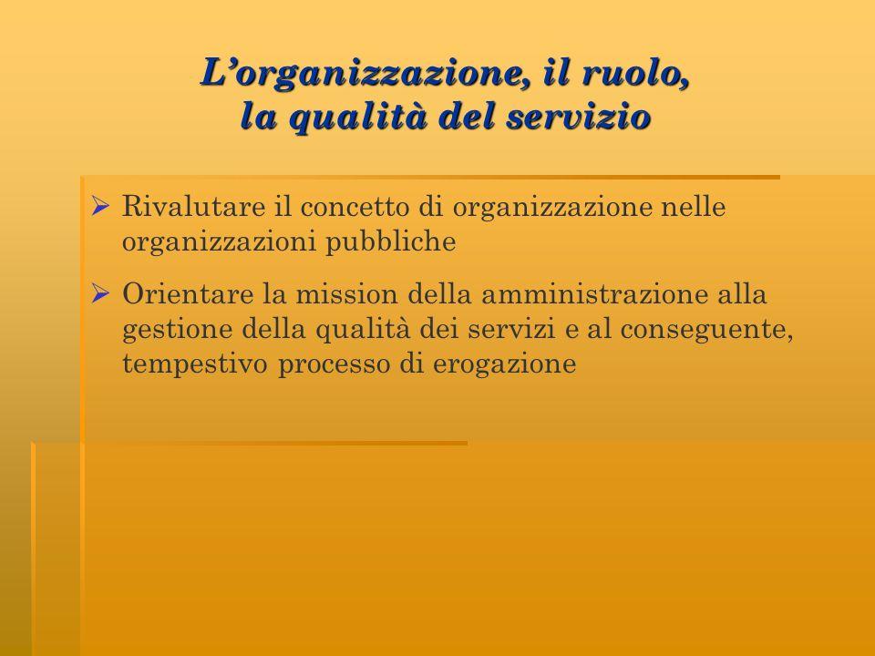 L'organizzazione, il ruolo, la qualità del servizio