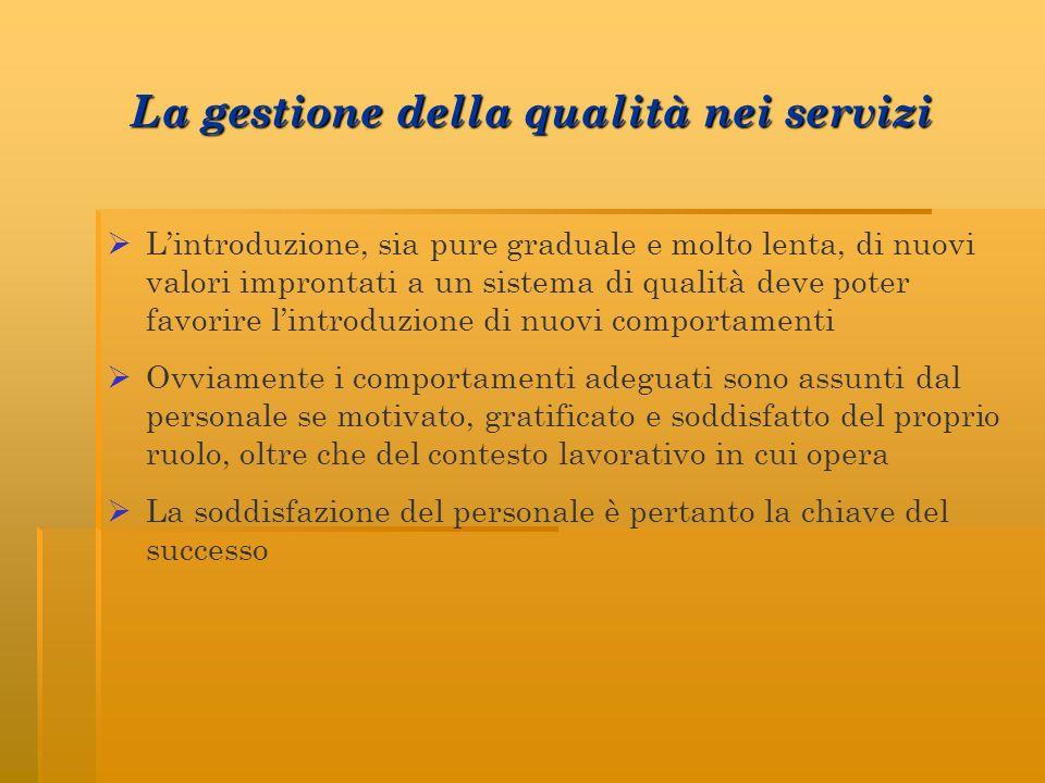 La gestione della qualità nei servizi