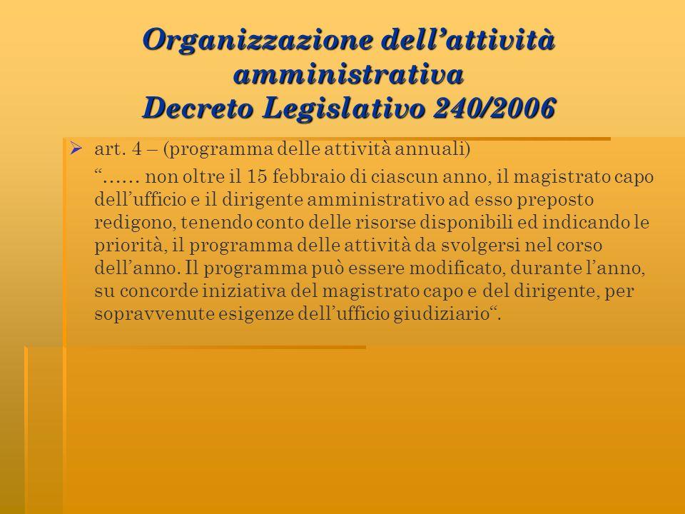 Organizzazione dell'attività amministrativa Decreto Legislativo 240/2006