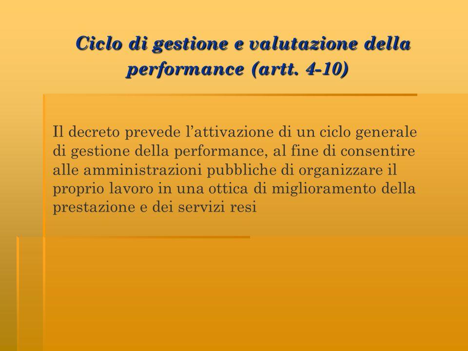 Ciclo di gestione e valutazione della performance (artt. 4-10)