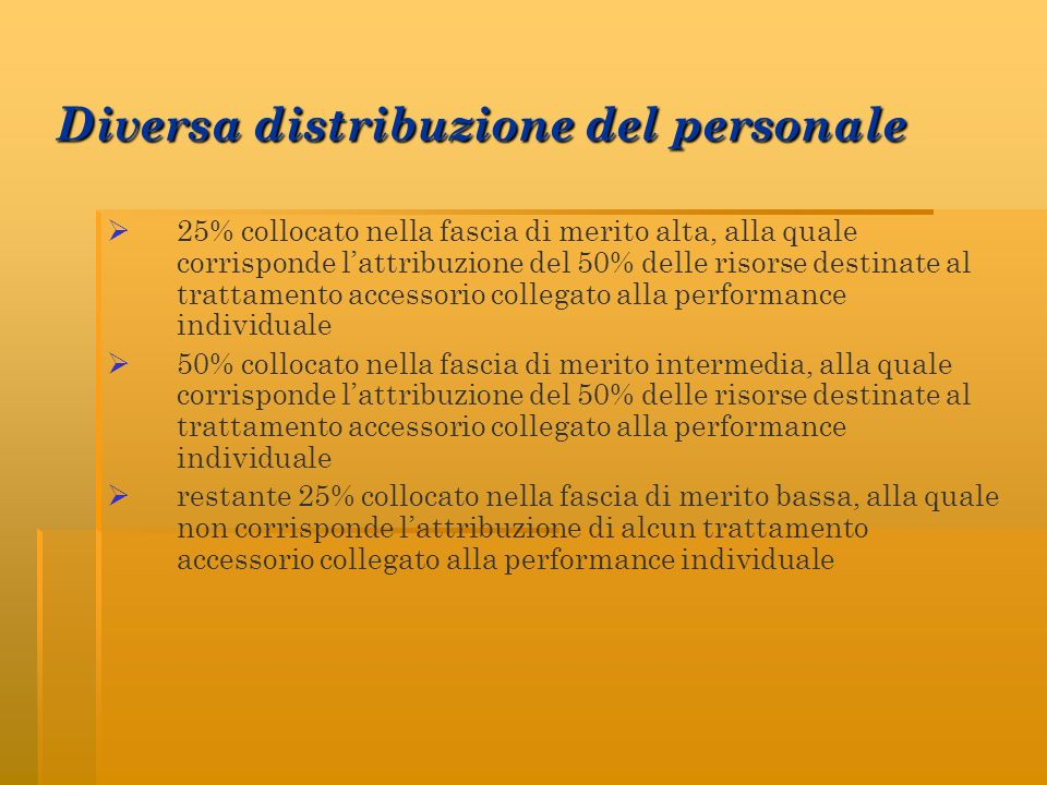 Diversa distribuzione del personale