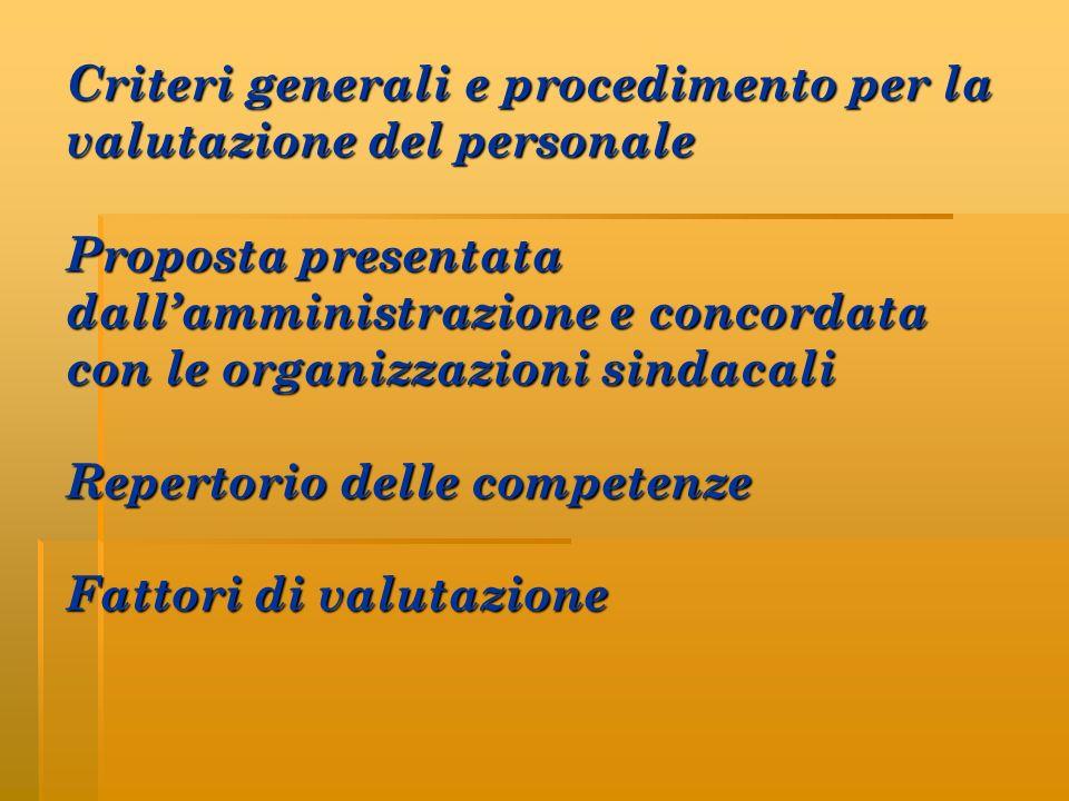 Criteri generali e procedimento per la valutazione del personale Proposta presentata dall'amministrazione e concordata con le organizzazioni sindacali Repertorio delle competenze Fattori di valutazione