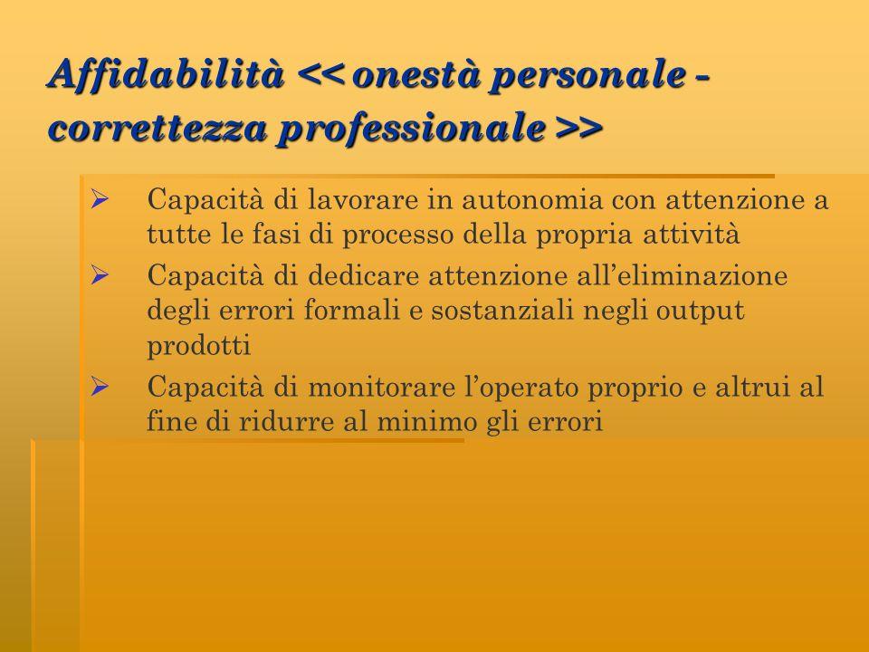Affidabilità << onestà personale - correttezza professionale >>