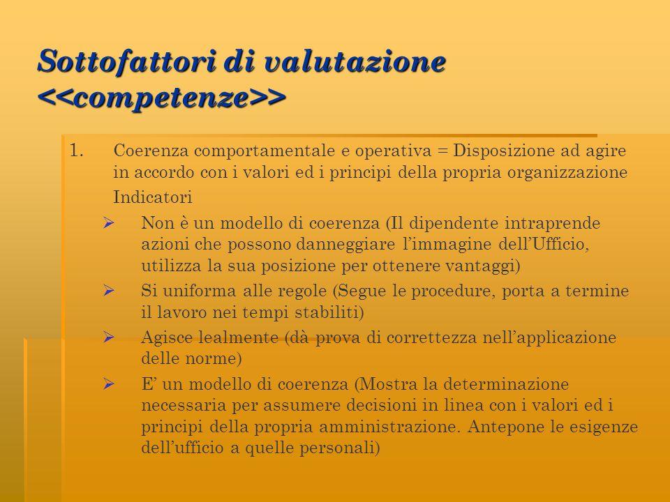 Sottofattori di valutazione <<competenze>>