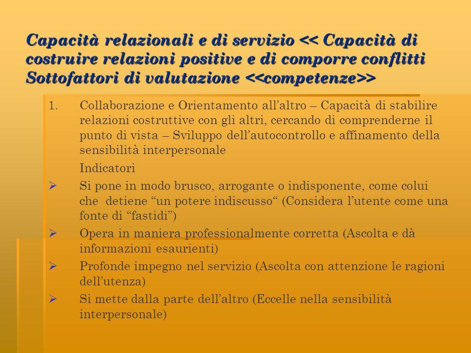 Capacità relazionali e di servizio << Capacità di costruire relazioni positive e di comporre conflitti Sottofattori di valutazione <<competenze>>