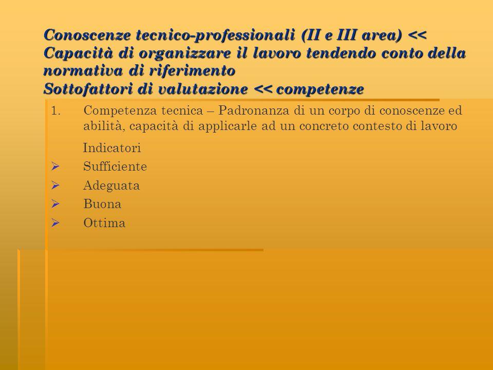 Conoscenze tecnico-professionali (II e III area) << Capacità di organizzare il lavoro tendendo conto della normativa di riferimento Sottofattori di valutazione << competenze