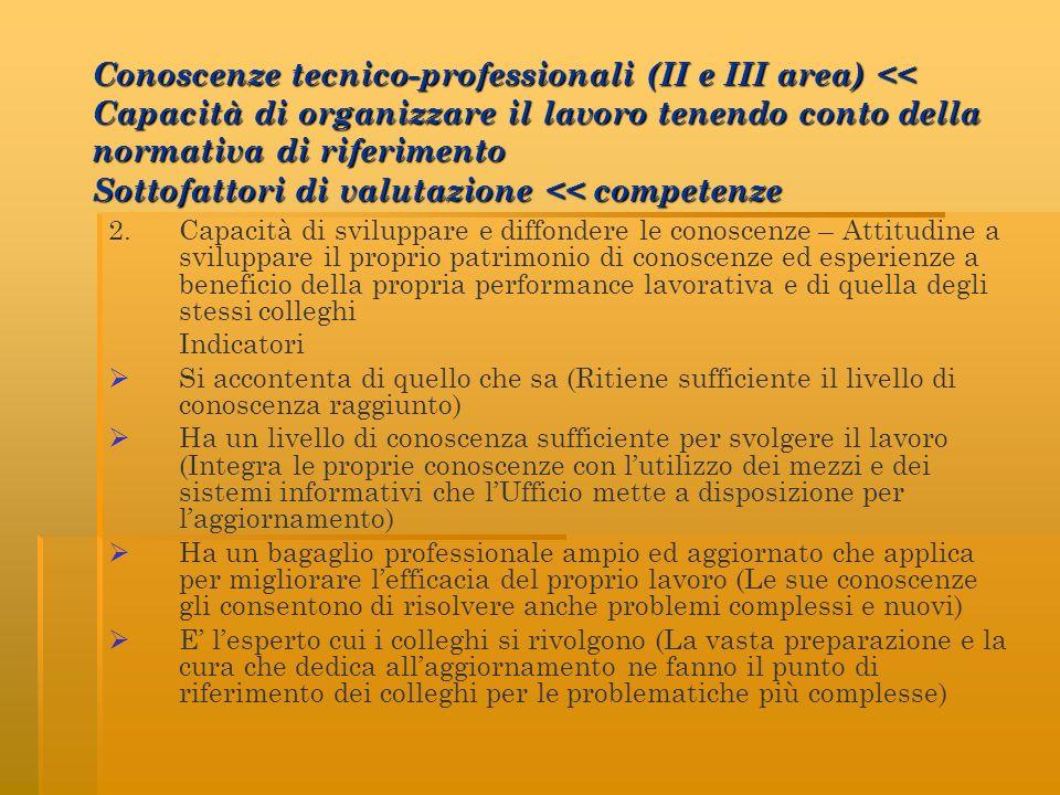 Conoscenze tecnico-professionali (II e III area) << Capacità di organizzare il lavoro tenendo conto della normativa di riferimento Sottofattori di valutazione << competenze