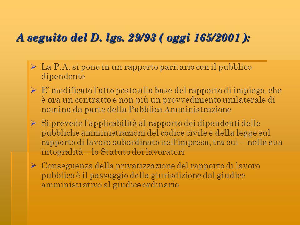 A seguito del D. lgs. 29/93 ( oggi 165/2001 ):