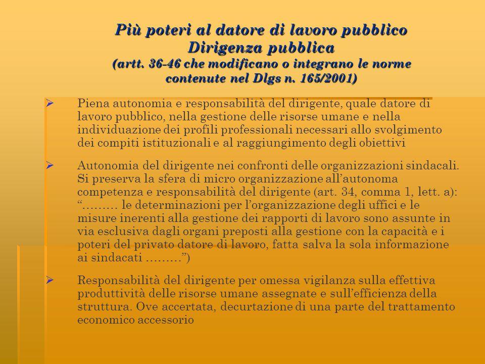 Più poteri al datore di lavoro pubblico Dirigenza pubblica (artt