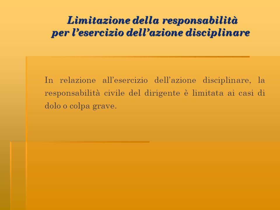 Limitazione della responsabilità per l'esercizio dell'azione disciplinare