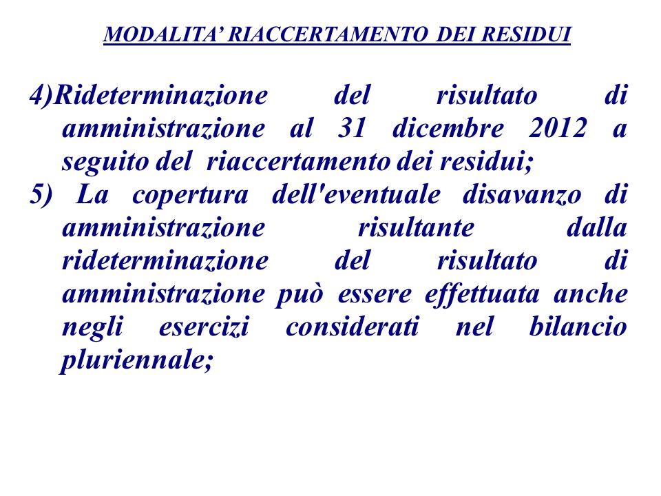 MODALITA' RIACCERTAMENTO DEI RESIDUI