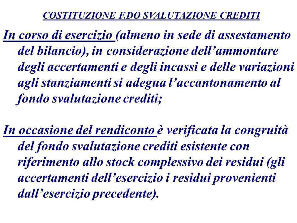 COSTITUZIONE F.DO SVALUTAZIONE CREDITI