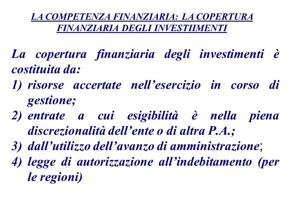 La copertura finanziaria degli investimenti è costituita da: