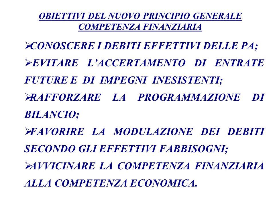 OBIETTIVI DEL NUOVO PRINCIPIO GENERALE COMPETENZA FINANZIARIA