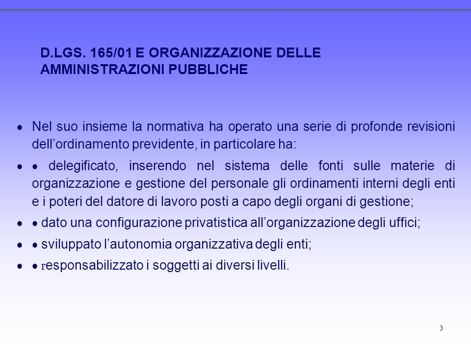 D.LGS. 165/01 E ORGANIZZAZIONE DELLE AMMINISTRAZIONI PUBBLICHE