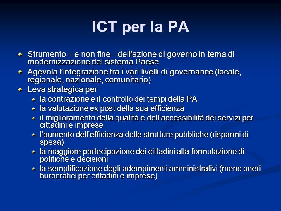 ICT per la PA Strumento – e non fine - dell'azione di governo in tema di modernizzazione del sistema Paese.
