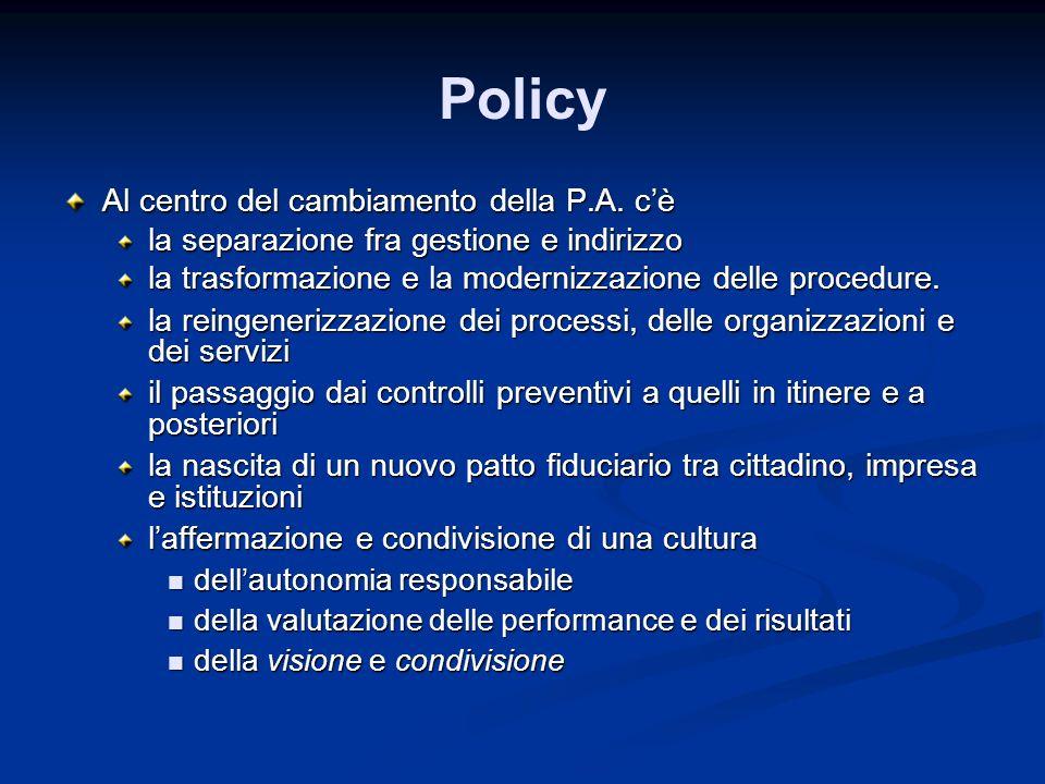 Policy Al centro del cambiamento della P.A. c'è