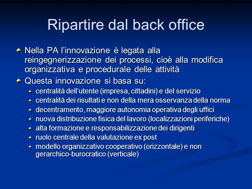 Ripartire dal back office
