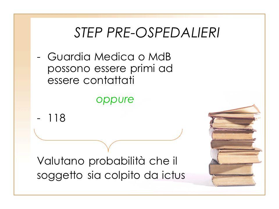 STEP PRE-OSPEDALIERI Guardia Medica o MdB possono essere primi ad essere contattati. oppure. 118.